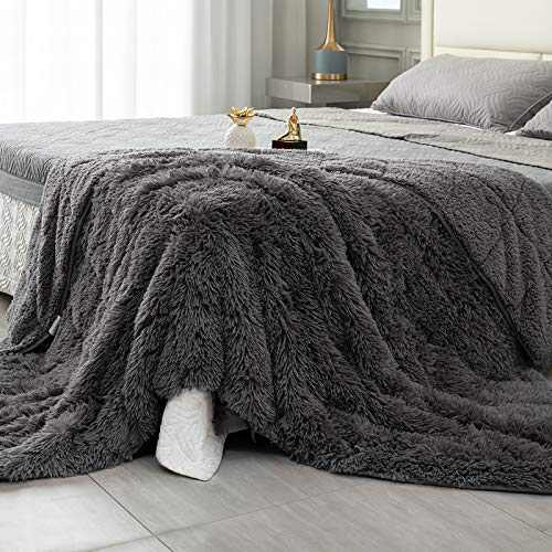 Topblan Faux Fur Weighted Blanket 15lbs, Shaggy Fuzzy Throw Blanket with Premium Sherpa Fleece, Warm and Cozy Bed Blanket to Help with Better Sleep, 48x72 inches Grey