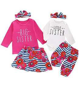 Aslaylme Little Girl Big Sister Skirt Set Little Kid Cute Floral Outfit (Pink01(Just One Big Sister Skirt Set),4 T)