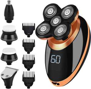 Electric Shavers for Men 5 in 1 Bald Head Shaver, Electric Shaving Razors with 5D Floating 5 Razor Head, Rechargeable Wet Dry Rotary Shaver Grooming Kit with LED Display