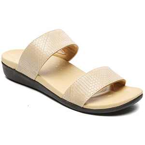 UTENAG Womens Arch Support Slides Double Buckle Orthotic Comfort Footbed Sandals Beige