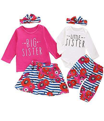 Aslaylme Little Girl Big Sister Skirt Set Little Kid Cute Floral Outfit (Pink01(Just One Big Sister Skirt Set),3 T)