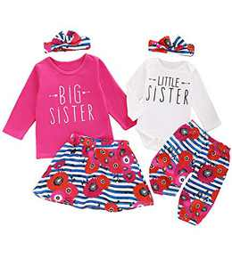 Aslaylme Little Girl Big Sister Skirt Set Little Kid Cute Floral Outfit (Pink01(Just One Big Sister Skirt Set),5 T)