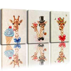 Wall art living room giraffe prints decoration print canvas plus handmade embellishment oil painting texture wall art canvas ready to hang 12x16 inches x3