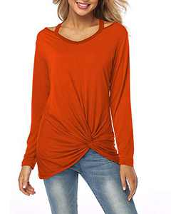 Oiya Womens Tie Front Tops V Neck Long Sleeve Shirts Casual Tops and Blouses