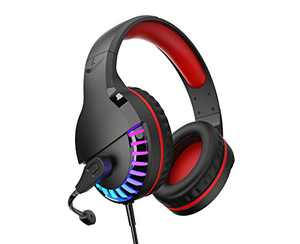 Gaming Headset, Over Ear Wired Headphones with LED Light, Noise Cancelling Microphone, Stereo Bass for Computer PC