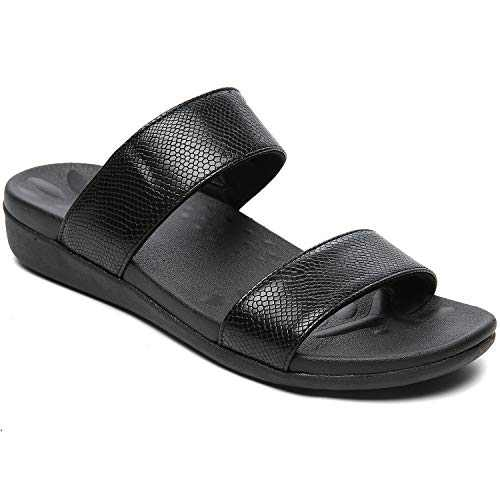 UTENAG Comfort Arch Support Slides for Women Two Band Orthotic Flat Sandals Summer Beach Flip Flops