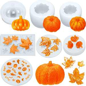 7 Pieces Halloween Thanksgiving Resin Molds, Including 3D Pumpkin Epoxy Mold, Thanksgiving Maple Silicone Mold, Mixed Halloween Bat Ghost Mold for Halloween DIY Craft Making Decoration Supplies