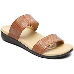 UTENAG Womens Arch Support Slides Double Buckle Orthotic Comfort Footbed Sandals Brown