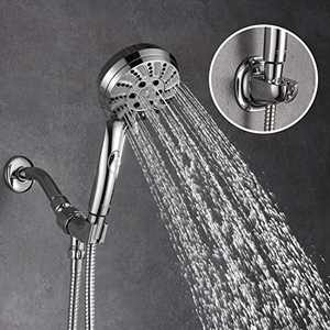 AMAZING FORCE Handheld Shower Head High Pressure 6 Spray Settings Massage Spa Hand Held Showerhead with Hose and adjustable suction bracket Chrome
