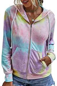 Minipeach Women's Long Sleeve Tops, Tie Dye Sweatshirt, Zip Up Hoodie Oversized-Sweatshirts Pullover