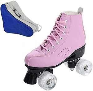 Women's Roller Skates PU Leather High-top Roller Skates Four-Wheel Roller Skates Shiny Roller Skates for Girls Ladies Adults Men Boys Unisex with Carry Bag (Pink no Flash Wheel,4.5)
