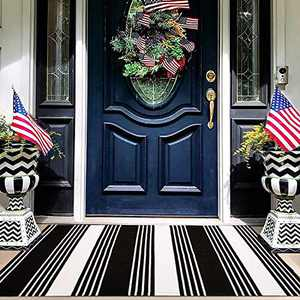 EARTHALL Black and White Striped Rug 27.5 x 43 Inches Cotton Hand-Woven Reversible Foldable Washable Outdoor Rug Stripe for Layered Door Mats Porch/Front Door (Birmingham Stripe)