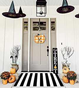 KOZYFLY Black and White Striped Rug | 35.4 x 59 Inches | Black Area Rug 3' x 5' Cotton Hand-Woven Washable Outdoor Rugs for Layered Door Mats Stripe Carpet Porch/Farmhouse/Entryway