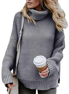 Chase Secret Womens Lightweight High Neck Knit Sweater Casual Cable Knit Sweater Tops Cute Fashion 2020 Fall Pullover Jumpers Gray X-Large