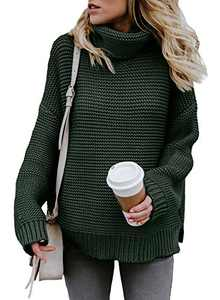 Chase Secret Womens Lightweight High Neck Sweater Tops Cozy Cable Knit Fashion 2020 Fall Sweater Pullover Jumpers Army GreenLarge