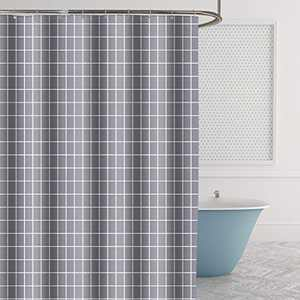 Anze Shower Curtain, Shower Curtains Sets with 12 Hooks, Thicken Shower Curtain Liner with Magnets, Polyester Fabric Textured Curtains for Bathroom, Waterproof Washable Gray Geometric 72 x 72 Inch