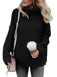 Chase Secret Women Casual Turtleneck Long Sleeve Chunky Knitted Pullover Sweaters Black Medium