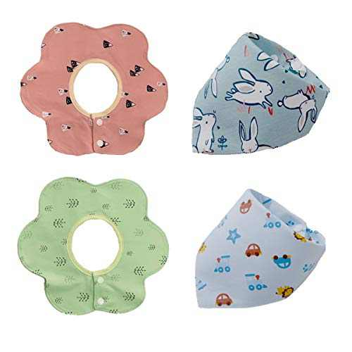 4-Pack Baby Bibs 360 Degree Rotation Drool Bibs Baby Bandana Bibs Set, Soft and Absorbent Cotton Bibs for Baby Shower (Style-B)