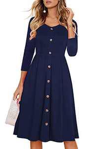 Edinoy Women's Retro Patchwork Stripe 3/4 Sleeve V Neck Casual Party A-Line Fall midi Dress (Small, Navy Blue)