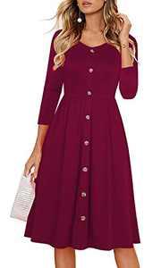 Edinoy Women's Retro Patchwork Stripe 3/4 Sleeve V Neck Casual Party A-Line Fall midi Dress (Large, Burgundy)