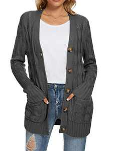UEU Women's Plus Winter Fall Long Sleeve Open Front Buttons Cable Knit Cardigan Sweater with Pockets(Dark Gray,XL)