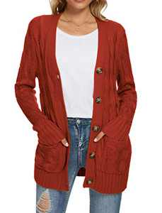 UEU Women's Winter Fall Petite Long Sleeve Open Front Button Down Cable Knit Cardigan Sweater with Pockets(Rust,M)