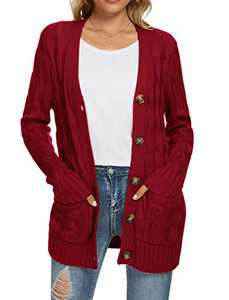 UEU Women's Winter Fall Long Sleeve Chunky Open Front Button Up Cable Knit Cardigan Sweaters with Pockets(Red,L)