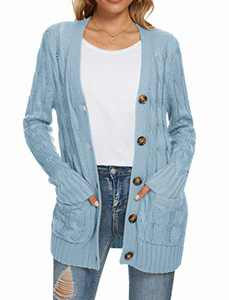 UEU Women's Winter Fall Petite Long Sleeve Open Front Button Down Cable Knit Cardigan Sweater with Pockets(Light Blue,M)