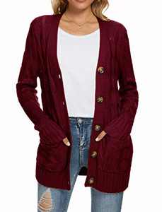 UEU Women's Winter Fall Long Sleeve Open Front Button Down Cable Knit Cardigan Sweater with Pockets(Wine Red,S)