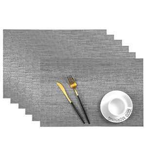 Leetaltree Placemats, 18''x12'' Vinyl Woven Insulation Anti-Skid Placemat Washable Table Mats Set (Grey 6Pcs)