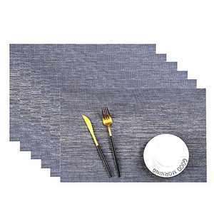 Leetaltree Placemats, 18''x12'' Vinyl Woven Insulation Anti-Skid Placemat Washable Table Mats Set (Blue 6Pcs)