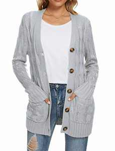 UEU Women's Winter Fall Long Sleeve Boyfriend Loose Open Front Button Up Cable Knit Cardigan Sweaters with Pockets(Light Gray,L)