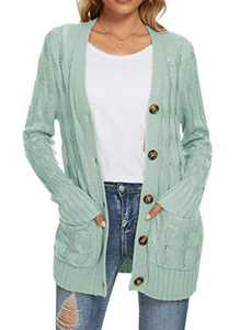 UEU Women's Winter Fall Long Sleeve Casual Loose Open Front Button Up Cable Knit Cardigan Sweaters with Pockets(Light Green,L)