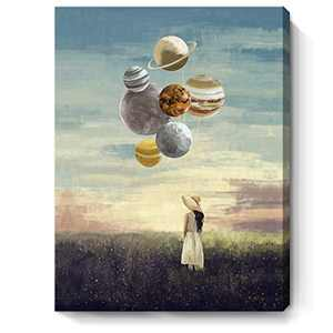 Inspirational Wall Art for Office Girl Holding Planet Surrounded by Bloosom Flowers Romantic Painting Modern Creative Motivational Canvas Framed Artwork for Bedroom Living Room Bathroom 12x16inch