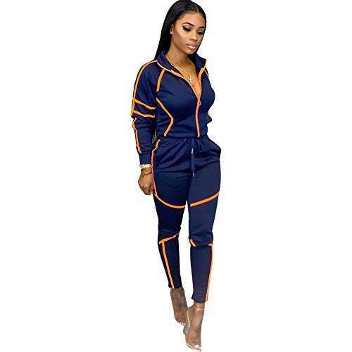 ZJFZML Striped Patchwork Women Tracksuit Sweatshirt Top Pencil Jogger Sweatpant Suit Two Piece Set Drawstring Sporty Jogger Club Outfit Navy XXL