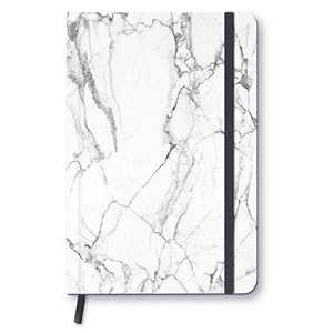 "White Marble - A5 Hardcover Notebook 8.3"" x 5.8"" with 100 Durable College Ruled Pages Hardcover Clothed Notebook for Students/Work Notebook with Bookmark Ribbon"