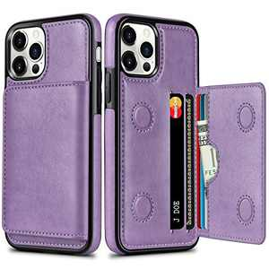 HianDier Compatible with iPhone 12 Pro and iPhone 12 Wallet Case 6.1-inch 5G with Card Holder PU Leather Kickstand Card Slots Cover Protective Magnetic Closure Shockproof Flip Back Case, Purple