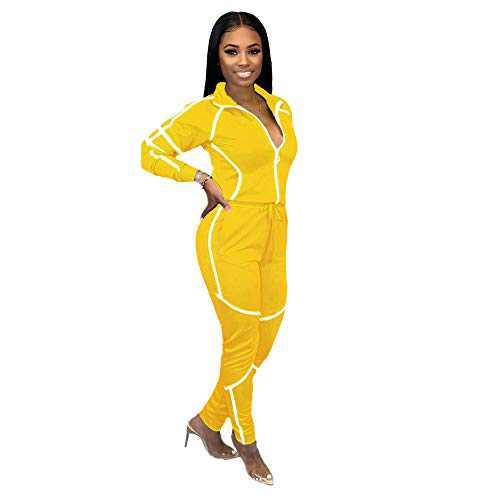 ZJFZML Striped Patchwork Women Tracksuit Sweatshirt Top Pencil Jogger Sweatpant Suit Two Piece Set Drawstring Sporty Jogger Club Outfit Yellow L