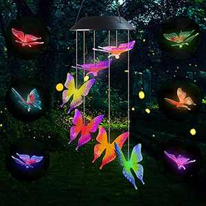 """Lampelc LED Solar Hummingbird Wind Chime, 25"""" Mobile Hanging Wind Chime for Home Garden Decoration, Automatic Light Changing Color (Butterfly)"""