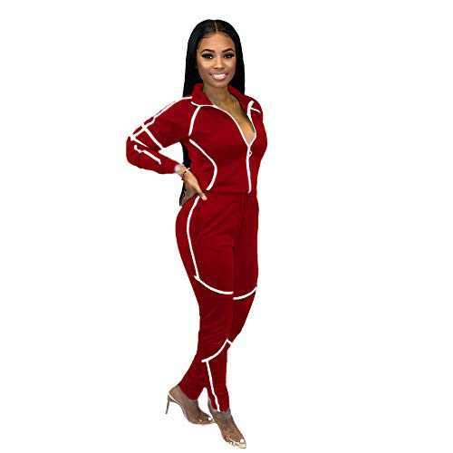 ZJFZML Striped Patchwork Women Tracksuit Sweatshirt Top Pencil Jogger Sweatpant Suit Two Piece Set Drawstring Sporty Jogger Club Outfit Red XL