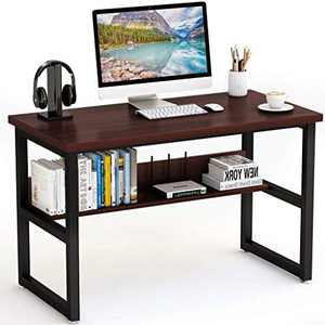 Computer Desk Office Desk, Gaming Desk Workstation PC Laptop Study Writing Wood and Metal Frame Table for Home Office 47.2 x 23.6 x 29.5 inches (Wine)
