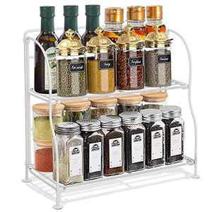 GEMITTO Spice Rack Organizer for Cabinet with Adhesive Backing 2 Tier Heavy Duty Metal Kitchen Countertop Organizer Spice Holder Shelf Storage Holder for Pantry Bathroom Office (White)