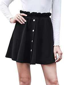 Aifer Womens High Waist A-Line Button Down Vintage Midi Chiffon Pleated Skirt with Pockets (Mini Black, Large)