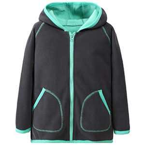 HILEELANG Unisex Boy Girl Polar Fleece Jacket Hoodie Lightweight Full-Zip Sweatshirt Outerwear Jacket Coat Grey
