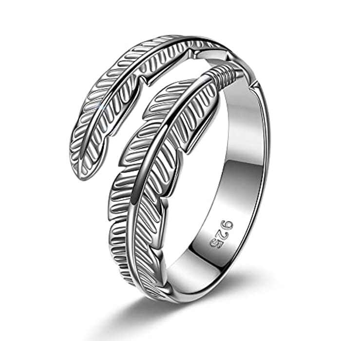 PRINCESS NINA Rings for Women/Men, 925 Sterling Silver Rings Plated Platinum, Adjustable Feather Ring, Gifts for Her/Him, Exquisite Jewelry Gift Boxed