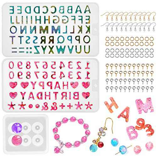 453pcs Resin Alphabet Mold, Jewelry Letter Epoxy Resin Casting Mold with1 Pc Number Mold, 1Pc Mini Sphere Mold & Jewelry Findings for Resin Earring, Keychain, Pendant