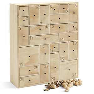 HYGGEHAUS DIY Wooden Advent Calendar with Drawers and Number Embellishments - Christmas Countdown | Halloween Countdown Calendar | Kids Craft Idea | 24 Drawer. 12.5in x 14.5in x 4in