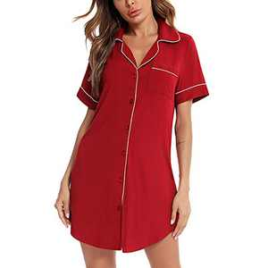 Lu's Chic Women's Short Sleeve Nightgown Button Down Sleepshirt Boyfriend V Neck Soft Sleepwear Red Small