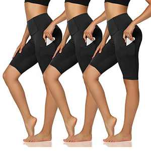 "TNNZEET 3 Pack Biker Shorts for Women - 8""4"" High Waist Tummy Control Workout Yoga Shorts with Pockets"