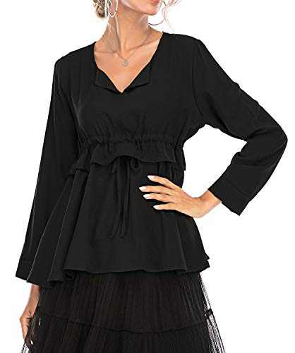 Women's V Neck Pleated Blouse Drawstring Waist Top Solid Color Ruffle Hem Tunic Shirt (Black, X-Large)
